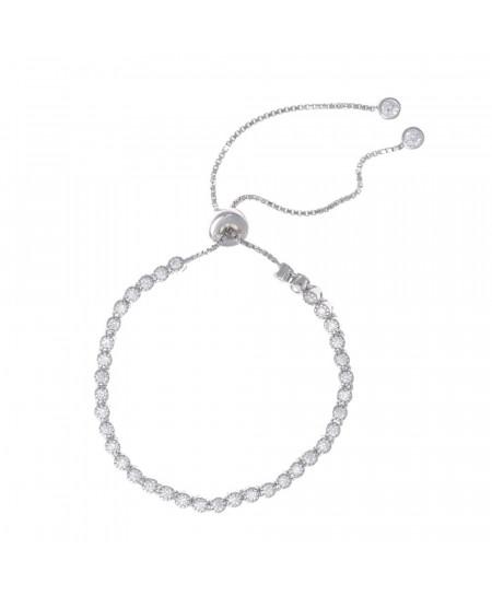 Pulsera plata rodio chatones circonitas blancas ajustable