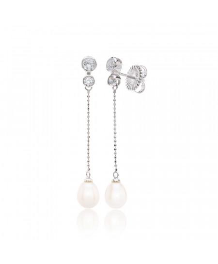 Pendientes plata rodio y baño de platino cadena bolas y perla