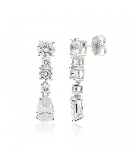 Pendientes plata rodio y baño de platino cascada tallas diamante