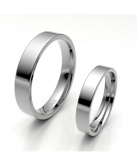Alianza clasica platino almendrada 4.00 mm de ancho reforzada interior confort
